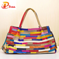Leisure All-match Striped Patchwork Women Bags Genuine Leather Large Capacity Women Handbag Cowhide Bag