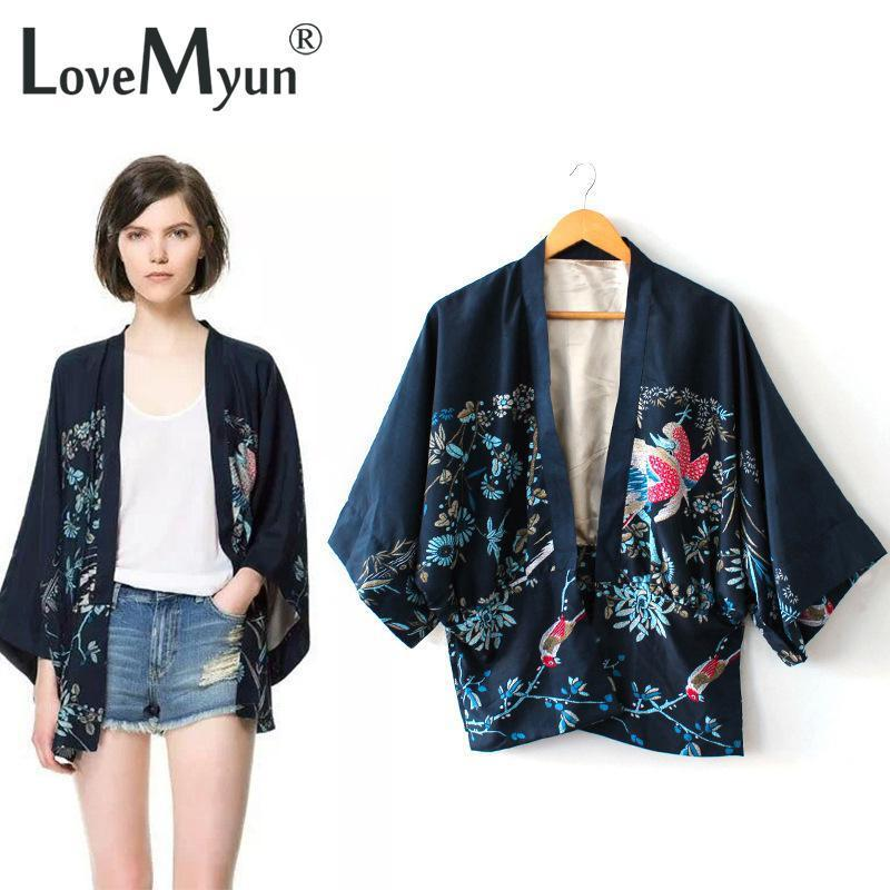 2016 New Vintage Retro Women Ethnic Phoenix print oversized Style navy blue Kimono Cardigan Jacket Coat free shipping
