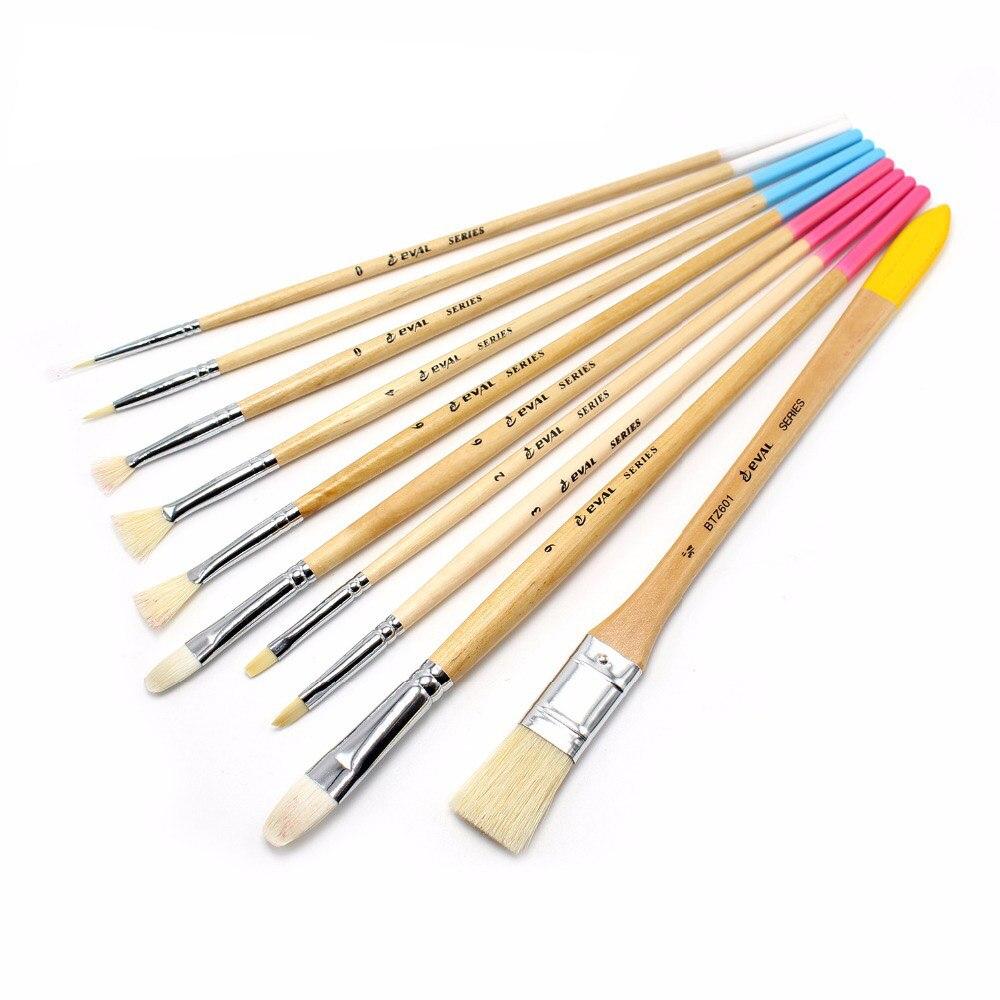 10 Pcs/Boxed High Quality Hog Hair Brush Acrylic Painting Brush Bristle   Oil Painting Brush Set Wood Handle Painting Brushes