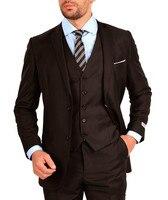 2018 Custom made Groom Wedding suits Brown Notched lapel 3 pieces Tuxedos Groomsmen suits( jacket+Pants+vest+tie)