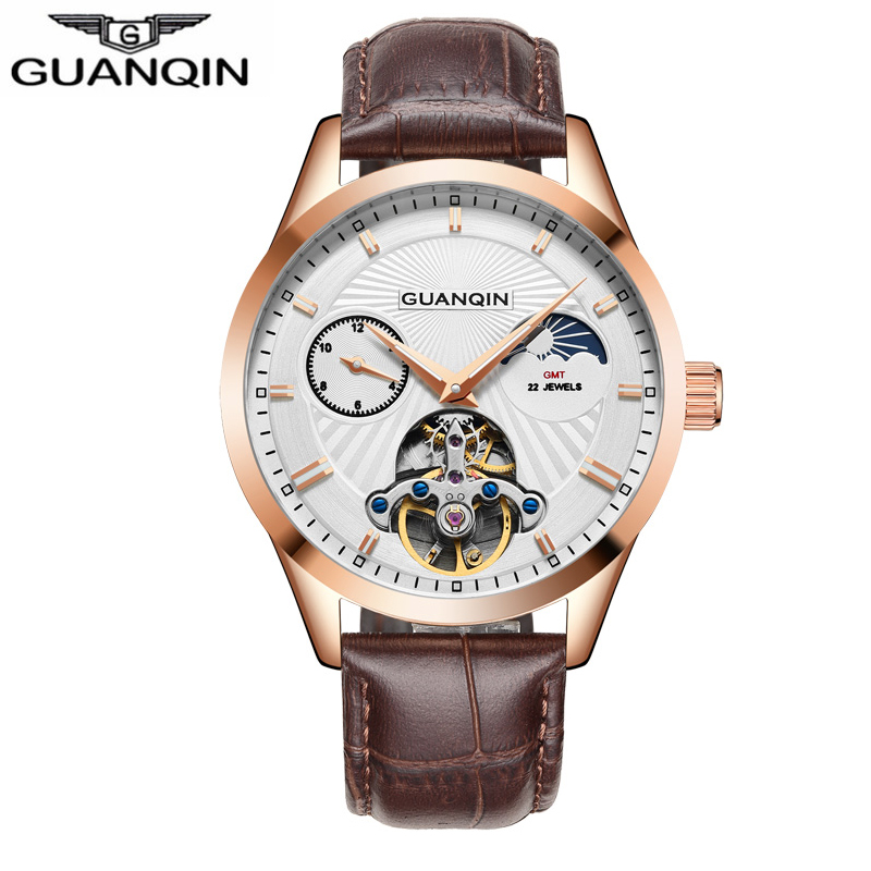 GUANQIN men wristwatches luxury brand Mechanical automatic man watches 30m waterproof 316L stainless steel Tourbillon moon Phase guanqin luxury watch men moon phase waterproof luminous watch automatic stainless steel tourbillon mechanical wristwatches gifts