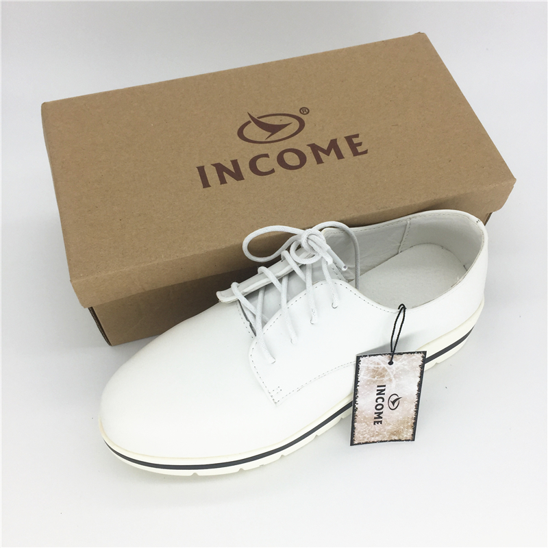 INCOME new genuine leather women flats shoes female casual flat women loafers shoes slips leather skyblue flat women's shoes land tenure housing and low income earners