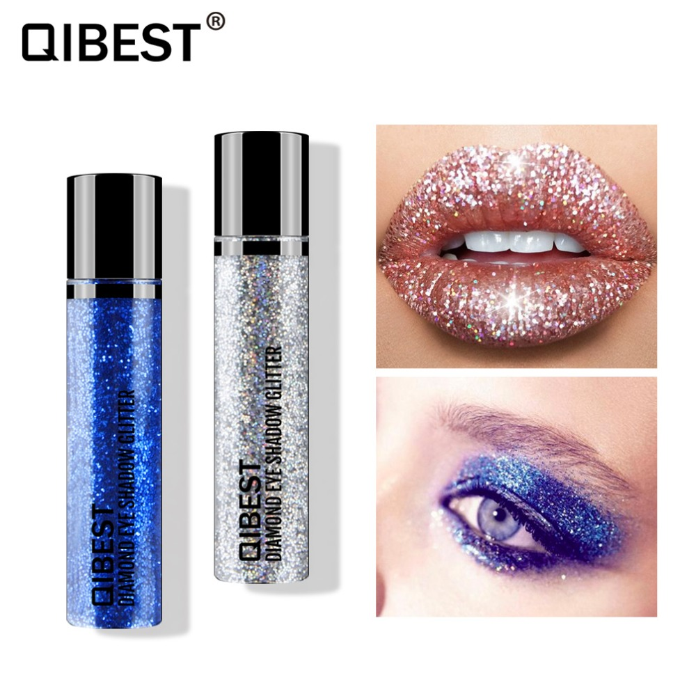 Lovely Diamond Glitter Eyeshadow Palette Single Color Gold Blue Silver Color Easy To Wear Waterproof Heavy Metal Eyeshadow Qb016 Beauty & Health Beauty Essentials