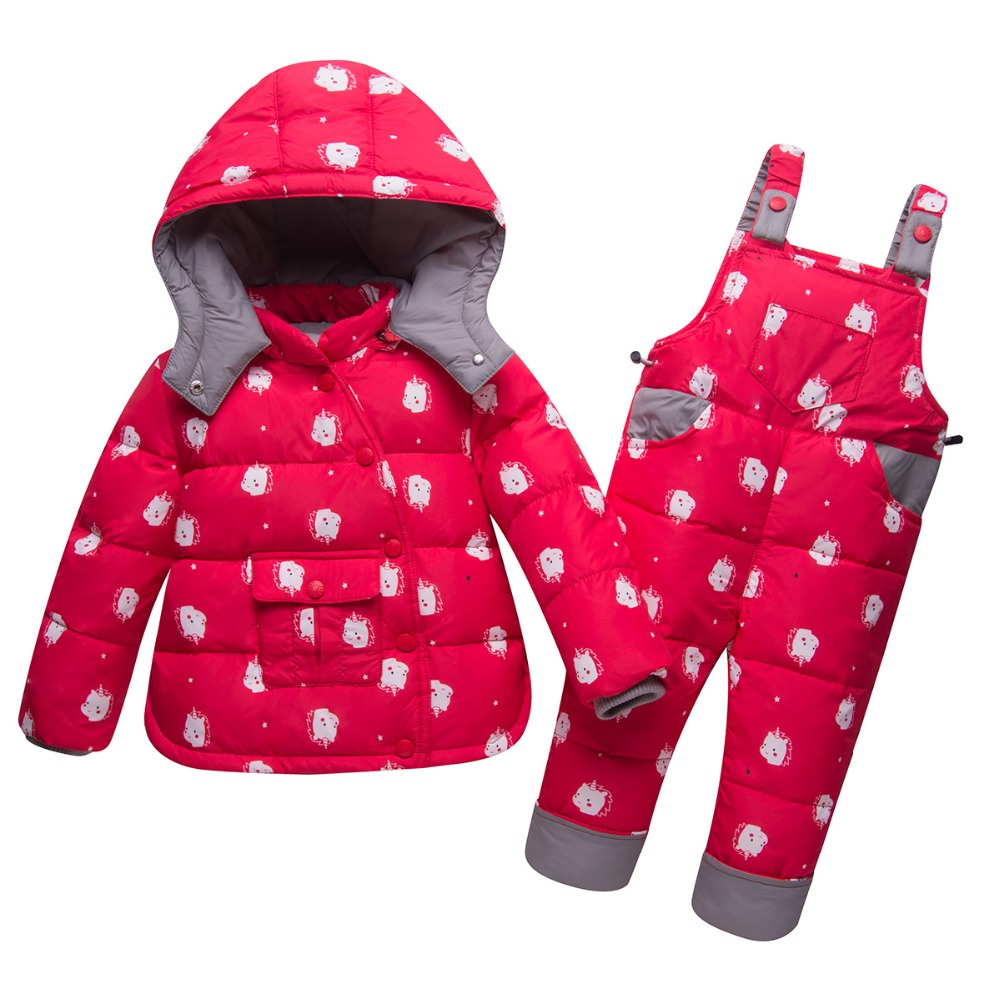 Russia Winter Children Clothing Sets Jumpsuit Snow Jackets Pant 2pcs Baby Boy Duck Down Coats Jacket snow wear kids Girl clothes the love of cat and mouse boy girl cartoon duck down jacket jumpsuit jackets baby snowsuit kids clothes 03