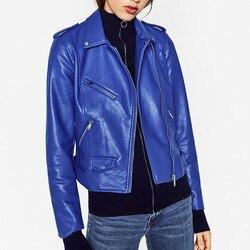 VogaIn 2016 Nueva Mujer moda azul real rojo imitación cuero motociclista  Chaqueta corta solapa Collar cremalleras bolsillos Cool abrigo f225a34d5f1a