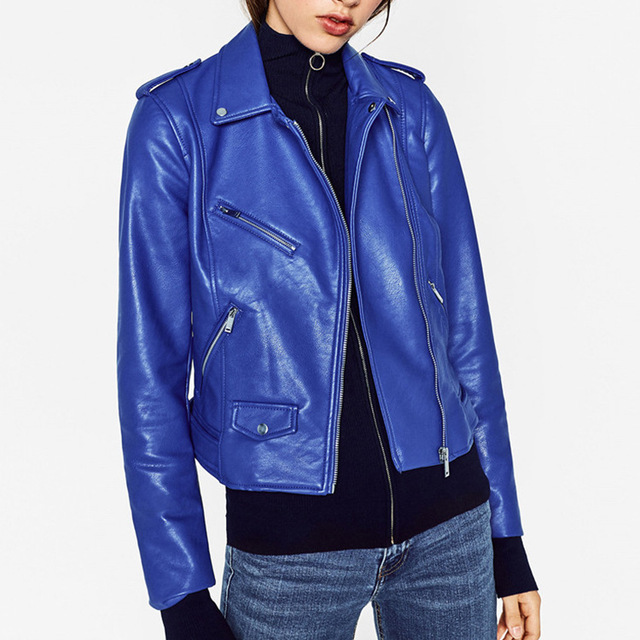 7e3f7e901f VogaIn 2016 New Woman Fashion Royal Blue Red Faux Leather Biker Crop Jacket  Lapel Collar Zippers Pockets Cool Coat