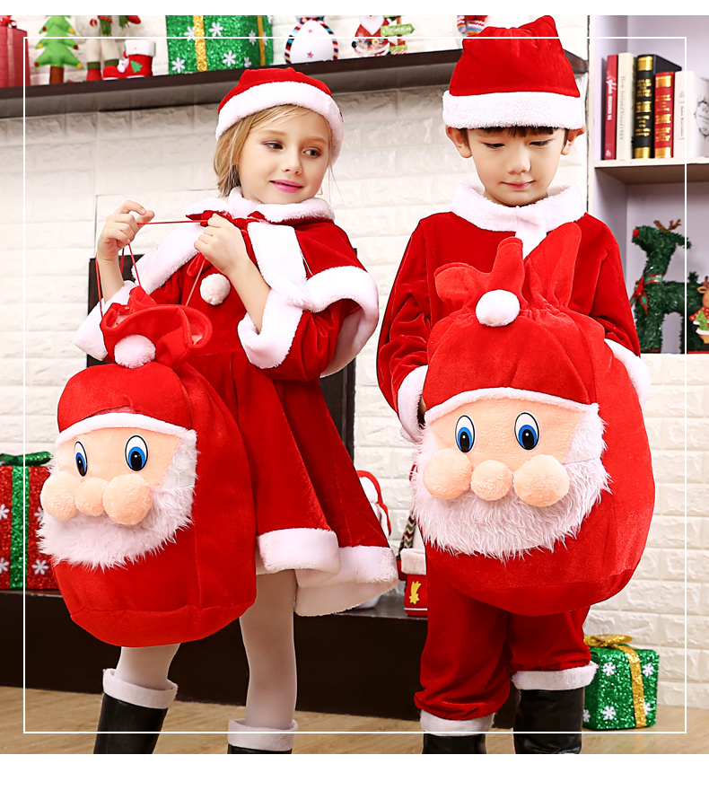 Cosplay Santa Claus Costume Red Christmas Costume For Christmas Children's Costume on Holiday of Christmas Boys Girls Prop