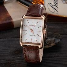Наручные часы марки Badace, мужские часы с квадратным циферблатом, модные кварцевые часы с кожаным ремешком, мужские водонепроницаемые часы 8888