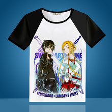 100d715cf New T Shirt Men Anime Sword Art Online SAO Yuuki Asuna Cosplay O-Neck  Printed Women T-shirts Raglan Short Sleeve Tops Tee Shirts