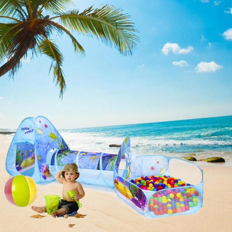 3pcs/Set Folding Pool-Tube-Teepee Baby Play Tent House Infant Kids Crawling Tunnel Game Play Triangle Tent Ocean Ball Pool