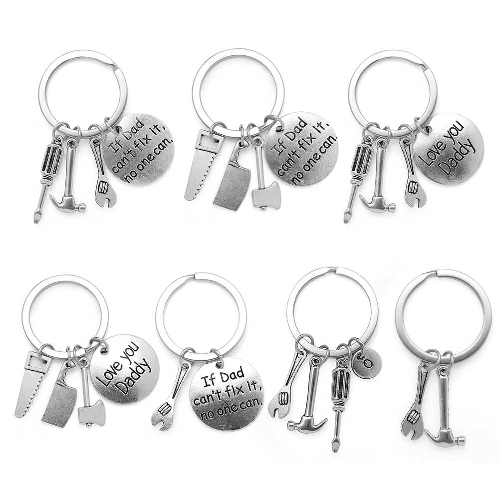 1Pcs Trendy Keyring Hand Tools Keychain Daddy Keyring Gift For Dad Fathers Day Keychain Hand Tools Bag Pendant Key Ring Jewelry