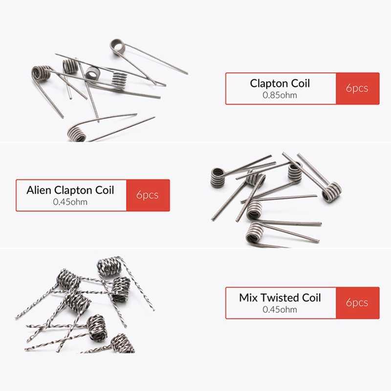 PIRATE COIL 48pcs A1 Tool Prebuilt premade Coils Clapton Quad Tiger Hive Alien Fused Clapton Mix Twisted Coil for RDA RBA Atom
