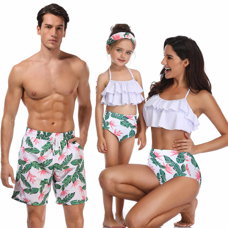 Family Matching Swimsuits Mommy Daddy and Me Palm Printed Ruffle Swimwear Bathing Suits