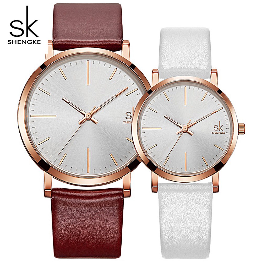 SHENGKE New Lovers Watches Couple Dress Waterproof Leather Strap Quartz Watch Women & Men Fashion Simple Dial Clock Wristwatches