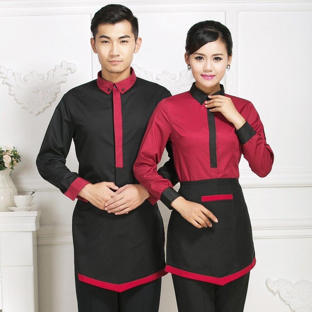Hotel Workwear Female Waitress Long Sleeve Uniform Jacket Chinese Restaurant Tea House Cafe Waiter Single Top Overalls H2364