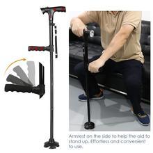 Bastón plegable telescópico plegable, bastón LED para personas mayores, bastones para caminar, regalos geniales para madres y padres mayores (sin batería)