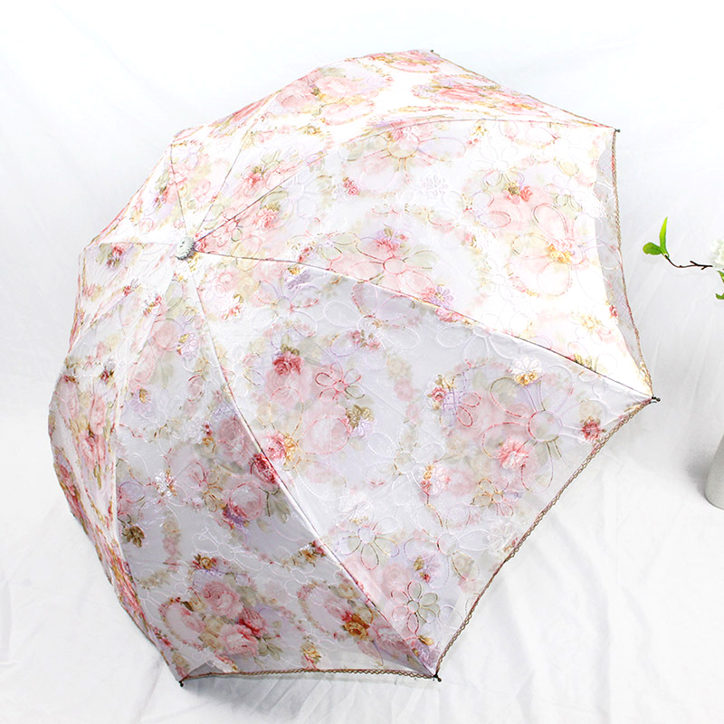 Embroidered umbrella lady Double lace sunshade Sun and uv protection triple folding umbrella Upgrade coating umbrella in Umbrellas from Home Garden