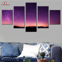 Meteor Purple Sky Canvas Painting For Living Room Modular Pictures For Wall Decoration Canvas Art Prints
