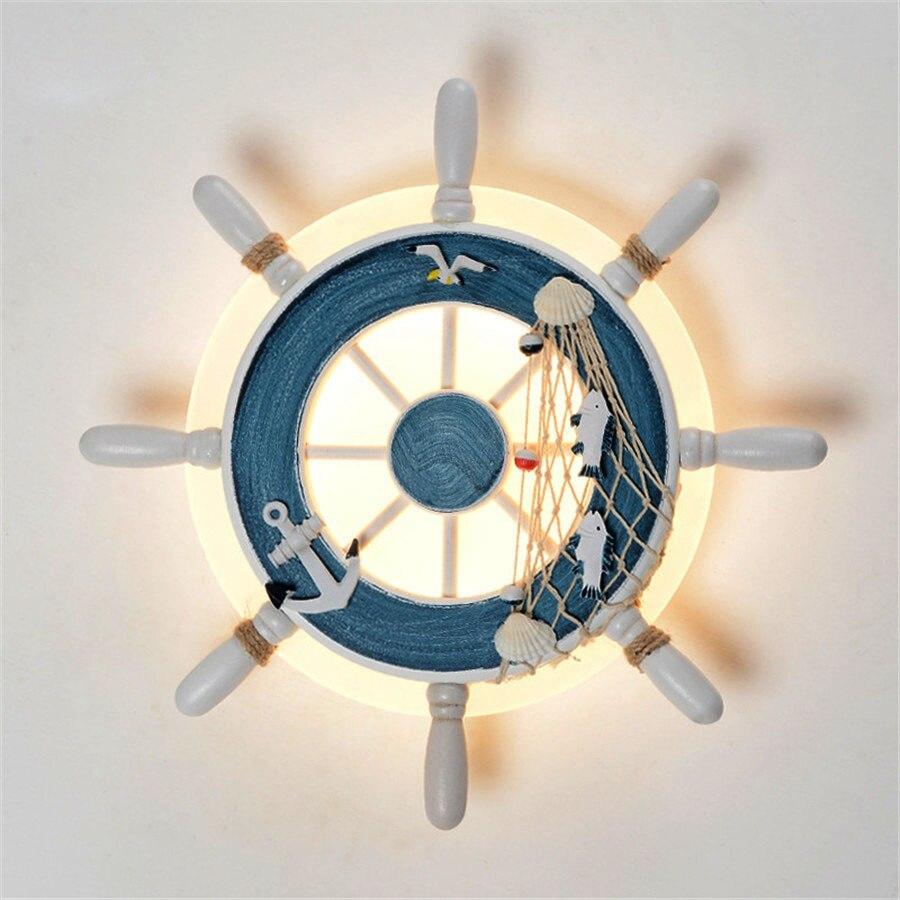 Thrisdar Ship Helmsman Mediterranean LED Wall Light Creative Cartoon Bedroom Wall Lamp Personality Children Room Wall LightThrisdar Ship Helmsman Mediterranean LED Wall Light Creative Cartoon Bedroom Wall Lamp Personality Children Room Wall Light