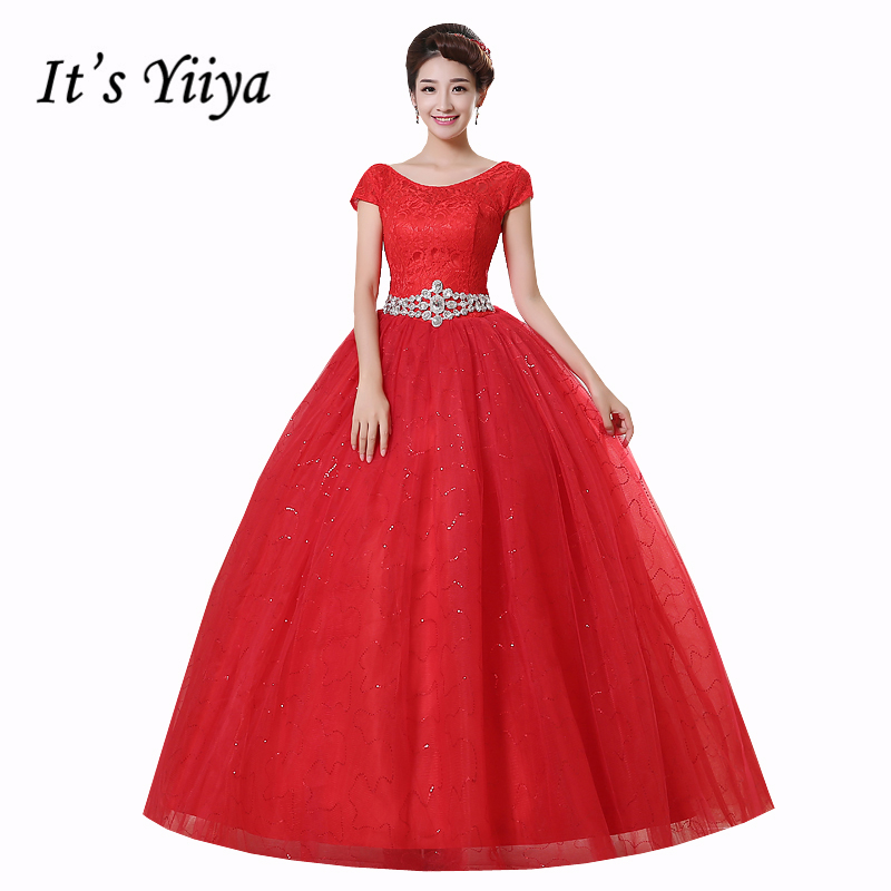 Real Photo New Vestidos De Novia Cheap Red White Wedding Dresses O-Neck Short Sleeves Plus Size Bride Gowns Frocks HS161