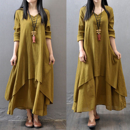 d6791a03dba 2018 Women Peasant Ethnic Boho Cotton Linen Long Sleeve Gypsy Long Maxi  Dress Vintage Loose Solid Button Plus Size Dresses-in Dresses from Women s  Clothing ...
