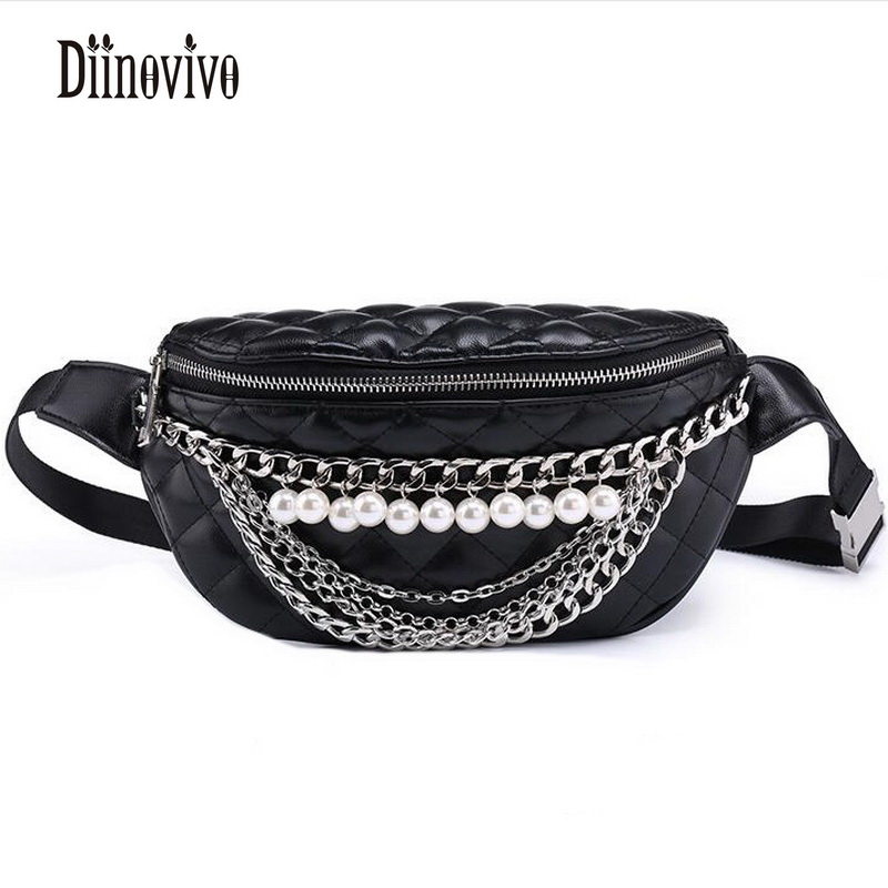 DIINOVIVO Pearl Chains Ling Grid Waist Packs Black Belt Pack Waist Bags Vintage Small Ladies Bag New Famous Brand Bolsas DNV0231