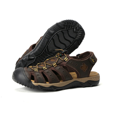 YWEEN Men Sandals Genuine Leather Summer Hollow Breathable Non-slip Casual Outdoors Beach Shoes Large size EUR45-48