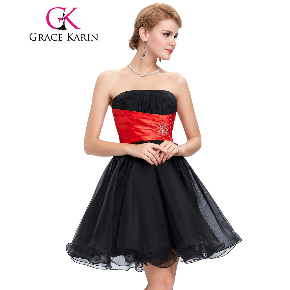 Aliexpress buy grace karin strapless ball gown short aliexpress buy grace karin strapless ball gown short bridesmaid dresses knee length birthday party blue white yellow black prom dress 2017 from ombrellifo Image collections