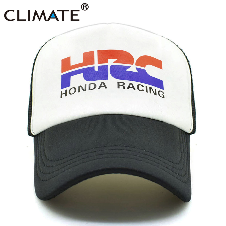 CLIMATE Men New Cool Trucker Caps HRC Honda Racing Car Motorcycle Fans Cap Cool Summer Baseball Mesh Net Hip Hop Cap Hat For Men