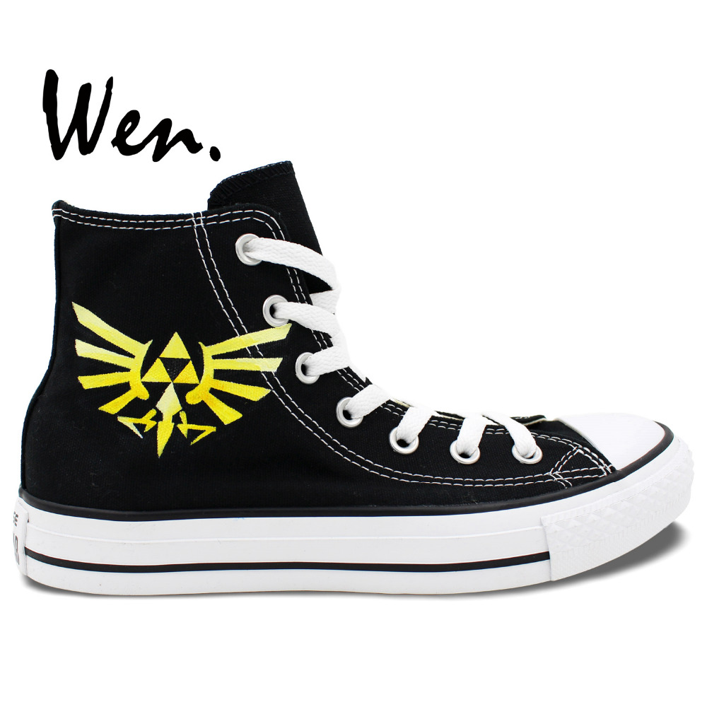 ФОТО Wen Men Women's Hand Painted Shoes Legend Of Zelda Yellow Mark High Top Boys Canvas Sneakers for Gifts