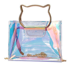 Laser Handbag Holographic Chain Tote Jelly-Bag Messenger-Bag Clear Mini Fashion Summer