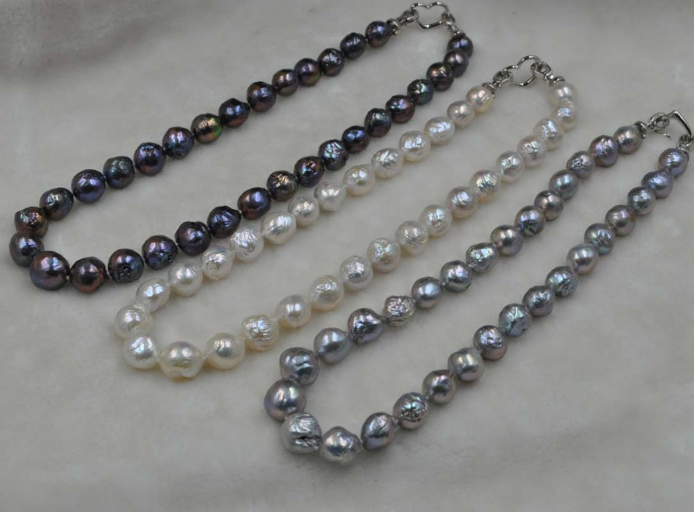 20 Length 11 14mm Baroque Kasumi white gray black pearl necklace free shipping
