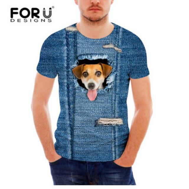 FORUDESIGNS T-Shirt Men Short Sleeve 3D Denim Cat Dog T Shirts Men Casual Tees Slim Fit Novelty Men T-Shirts Camisa Masculina 2