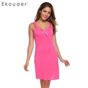 Image 4 - Ekouaer ファッションスリムナイトウェア女性スパゲッティストラップノースリーブソリッド Nighties パジャマ夏カジュアル弓パジャマ
