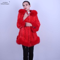 Linhaoshengyue women mink fur coat fox fur collar fox fur Cuff fox fur