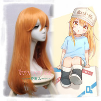 New Anime Hataraku Saibou Cosplay Wigs Cells At Work!Blood Platelet PLT Long Straight Blonde Synthetic Hair for girls+Wig Cap