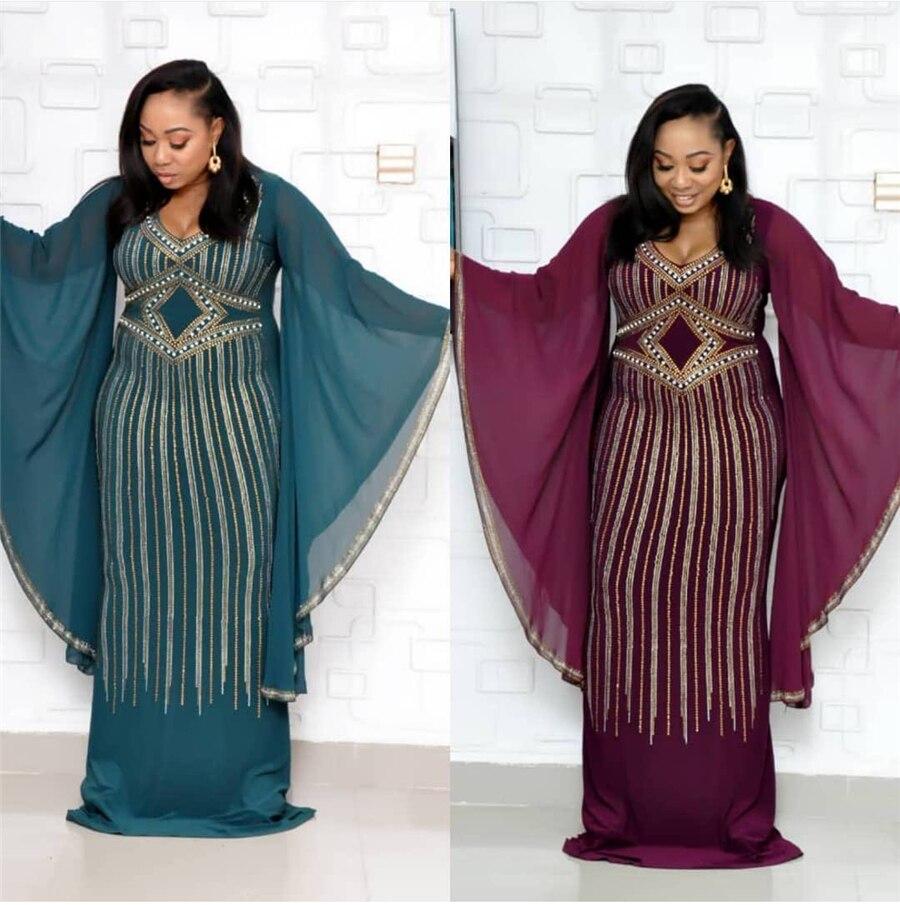 GuyuEra forage à chaud perlé exagéré mousseline de soie grandes manches Slim robe en queue de poisson Europe et amérique afrique vêtements pour femmes