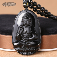 The opening guest Reith Obsidian 5A Amitabha Pendant Zodiac Animal Guardian natal Buddha necklace for men and women