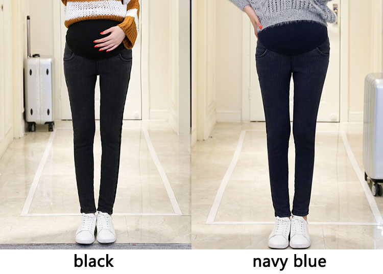 b346e48d453b4 Plus Size 3XL Warm Thick Pregnancy Denim Pants Winter Fleece Maternity Jeans  for Pregnant Women Plus ...
