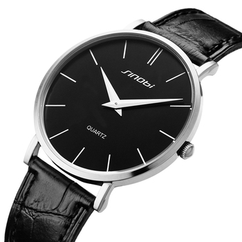 Super slim Quartz Casual Wristwatch Business JAPAN SINOBI Brand Leather Analog Quartz Watch 1