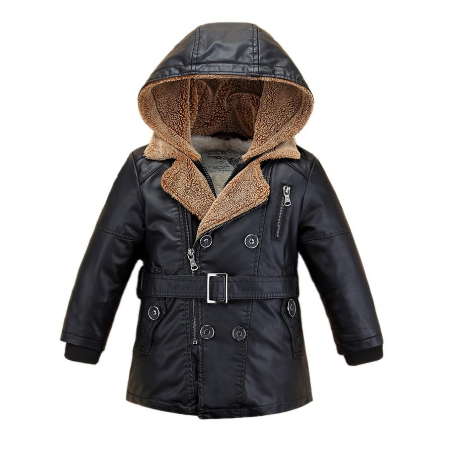 Enfants veste manteau gentleman fourrure en cuir veste manteau pour 1-14yrs enfants étudiants garçons filles à capuche en cuir veste d'extérieur manteau