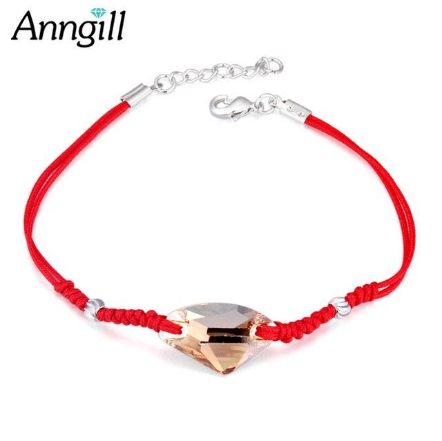 452ec494603f Anngil marca CRISTAL DE SWAROVSKI Pulseras con encanto para las mujeres  Thin red Hilos cuerda moda