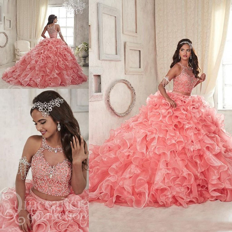 Luxury Beaded Two Piece Coral Quinceanera Dresses Organza Tiered Skirts Ruffles Jewel Neck Custom Made Sweet 16 Party Dresses