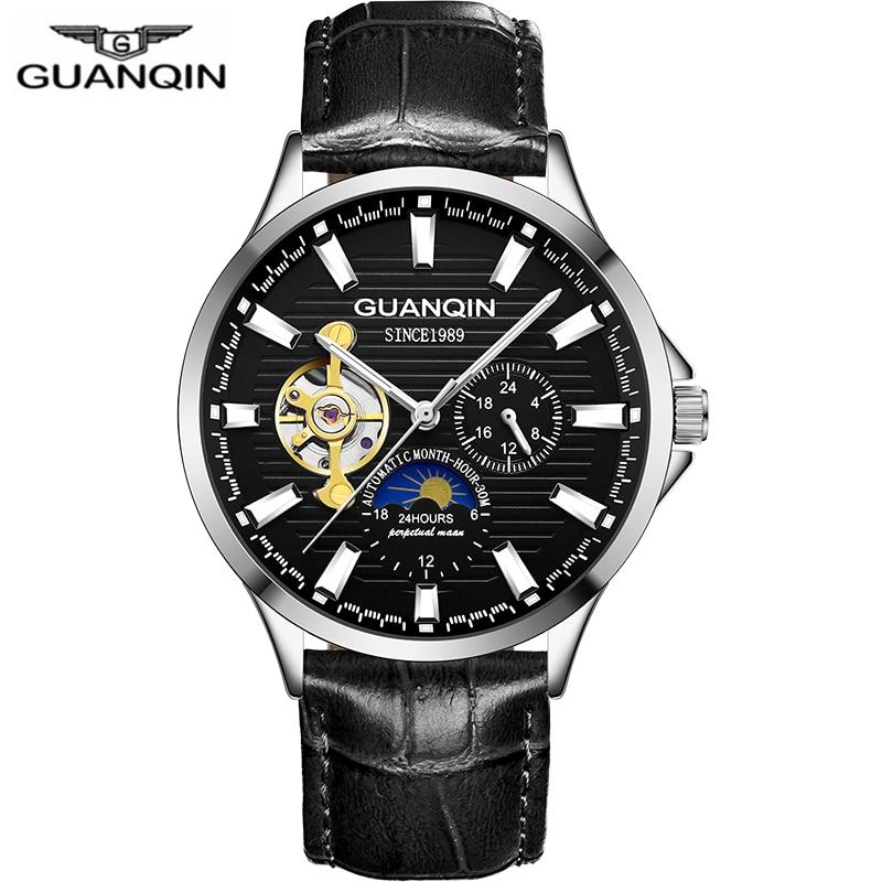 Di fascia alta orologi Meccanici Top di Marca GUANQIN 2018 Tourbillon orologio Automatico con Moon phase 24 ore Luminoso Vigilanza di Modo degli uomini