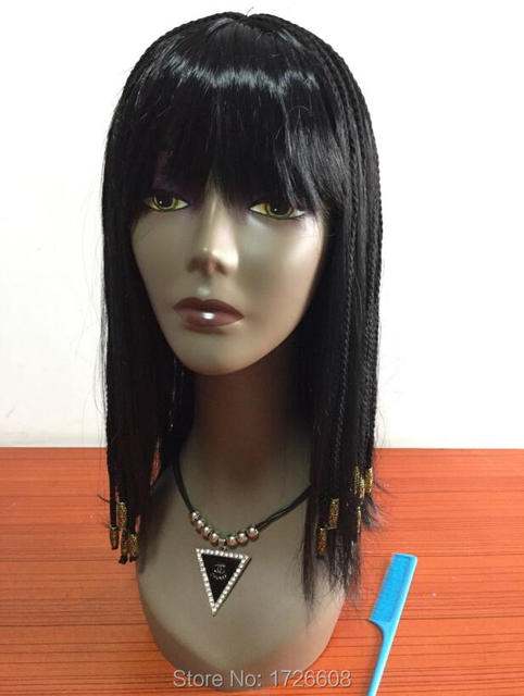 Egypt Queen Cleopatra Wig with Neat Bangs Synthetic Braiding Hair Deluxe  Halloween Christmas Bobo Wig Women Bob Cosplay Wigs d93cc3470