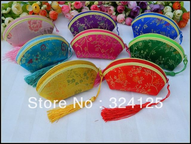 Free shipping wolesale 50pcs/lot Chinese silk traditional 7.5*12*5cm  8 color wedding candy bag