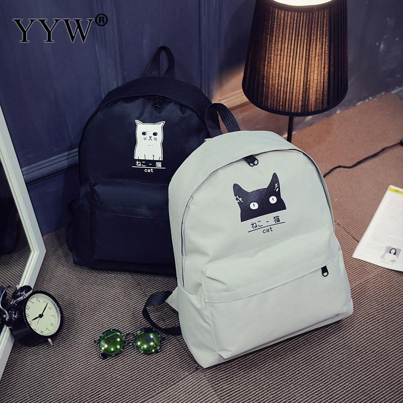 Canvas Backpack Mochilas Rucksack Embroidery School-Bag Printing Teenage-Girls Black