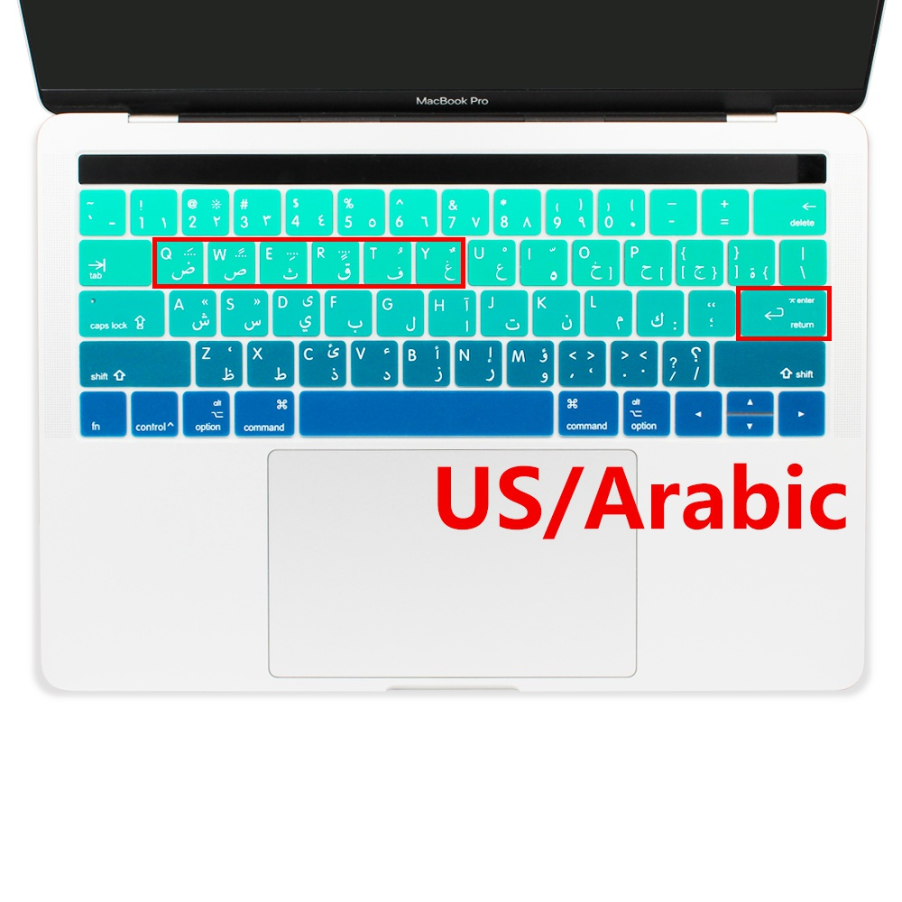 Arabic Keyboard Skins Characters Cover For New Apple MacBook Pro 13 15 Inch With
