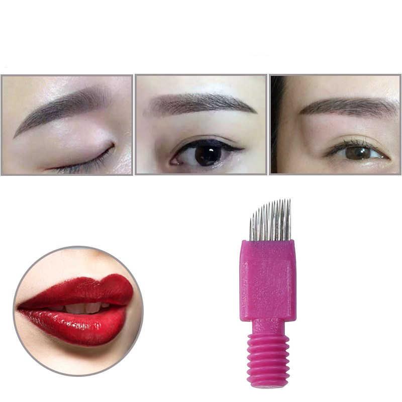 20 piezas de doble línea 15 agujas de tatuaje permanente maquillaje ceja labio bordado hoja para Microblading 3D lápiz de tatuaje Manual