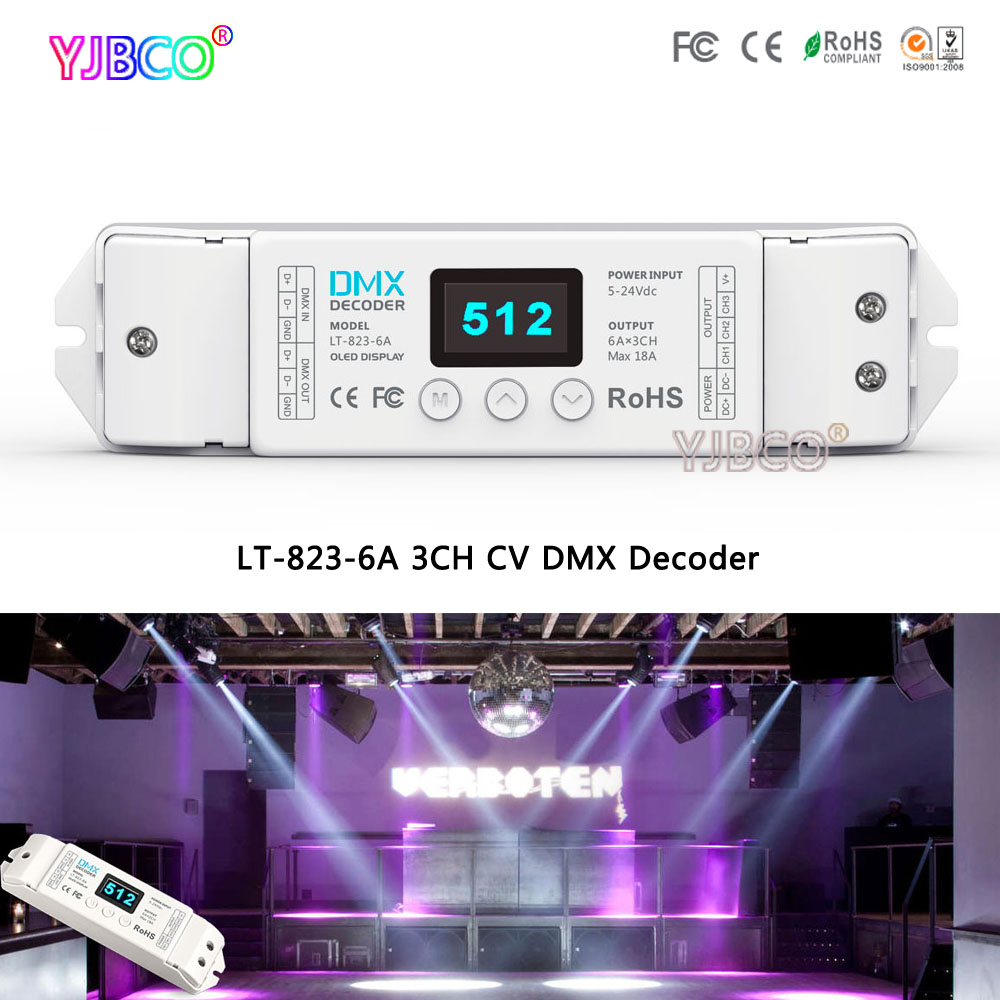LT-823-6A CV DMX Decoder DC5-24V input;6A*3CH output;Input signal DMX512 (8bit / 16bit) 3CH led controller for led lights femi pleasure футболка